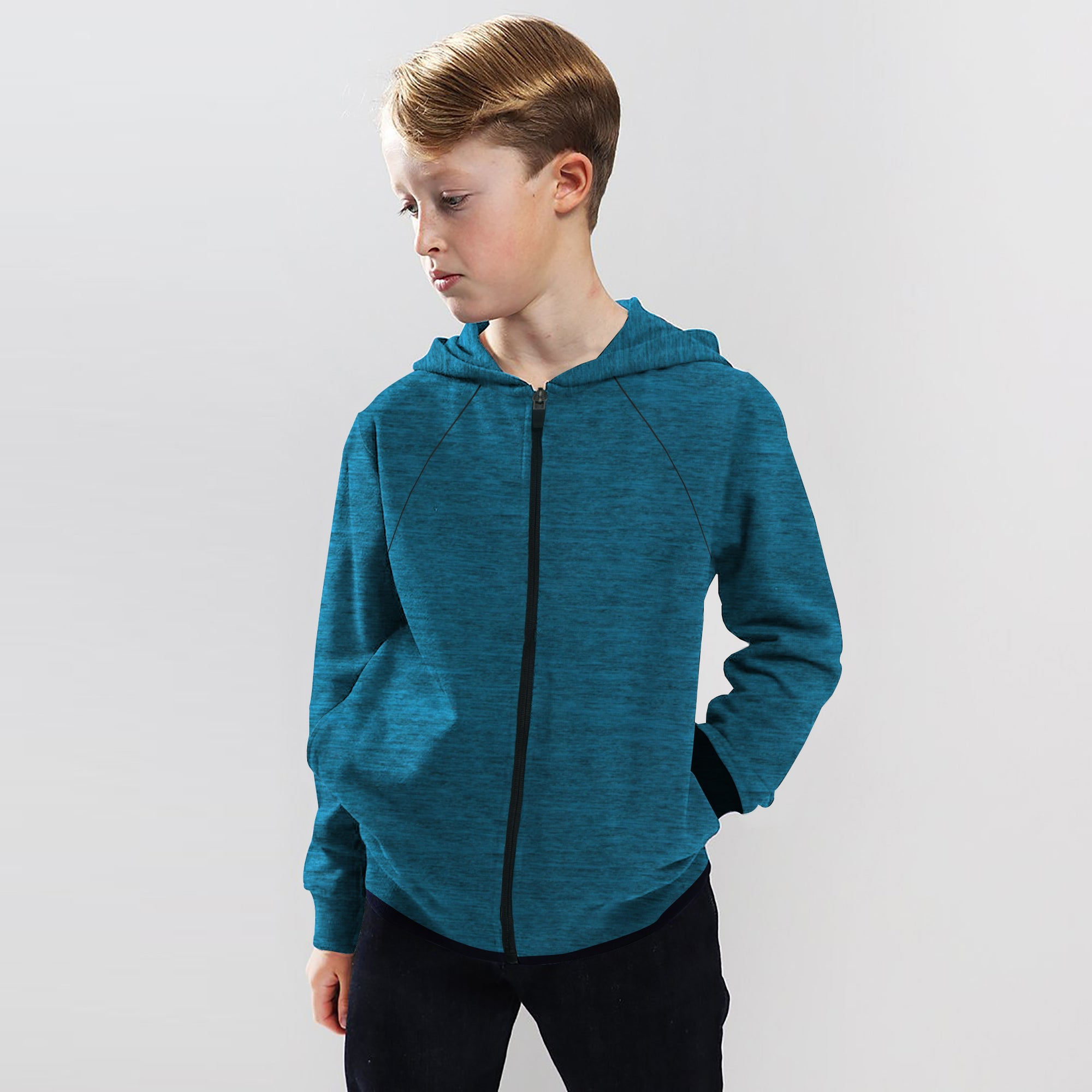Next Terry Fleece Zipper Hoodie For Kids-Dark Syan Melange-SP861