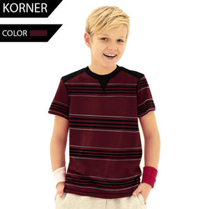 Kids Kroner Striped T Shirt-Dark Burgundy-KKTS02