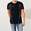 brandsego - Kukri Half Sleeve Crew Neck Tee Shirt For Men-Dark Navy & Maroon-BE8132