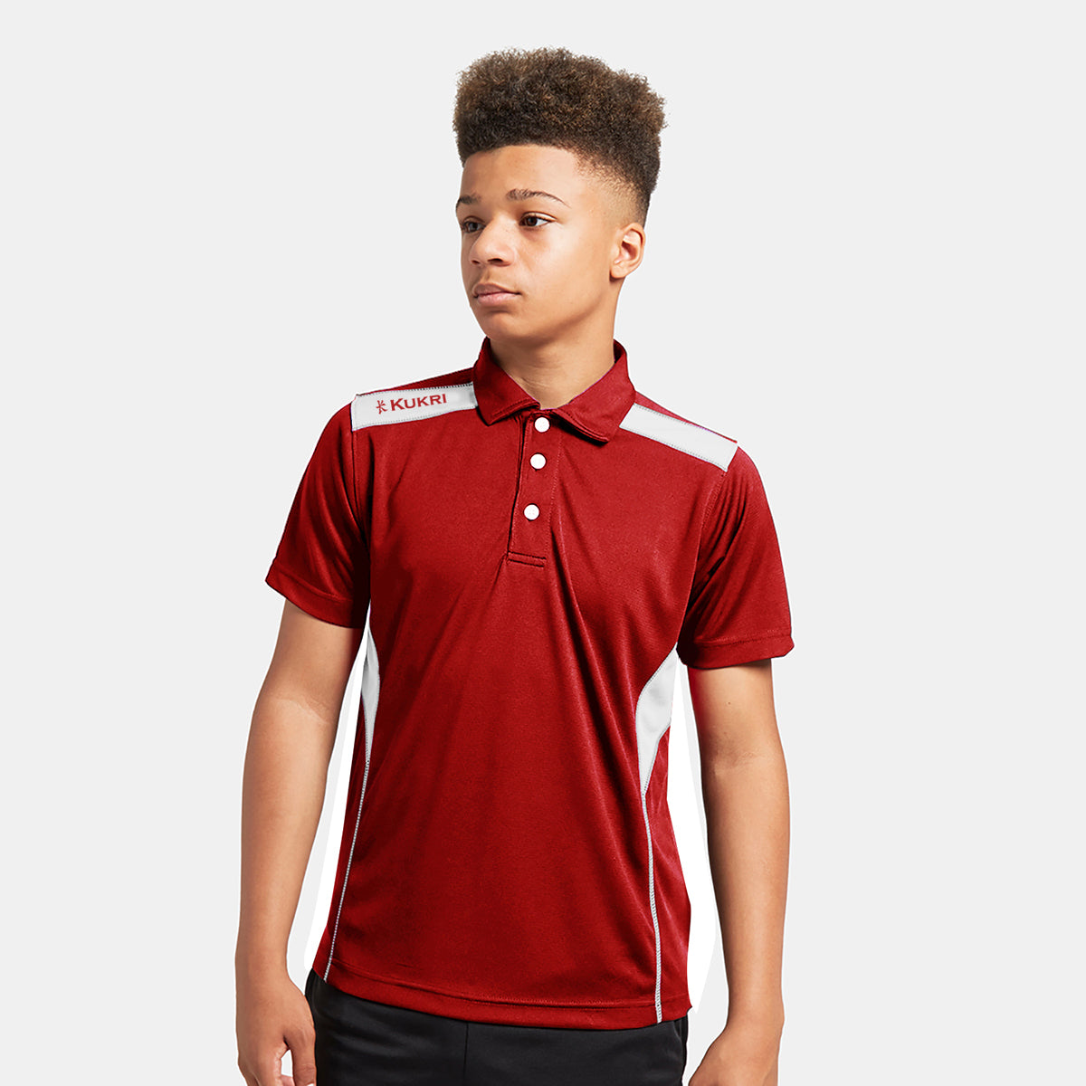 Kukri Half Sleeve Polo Shirt For Boys-Red & White-BE8133