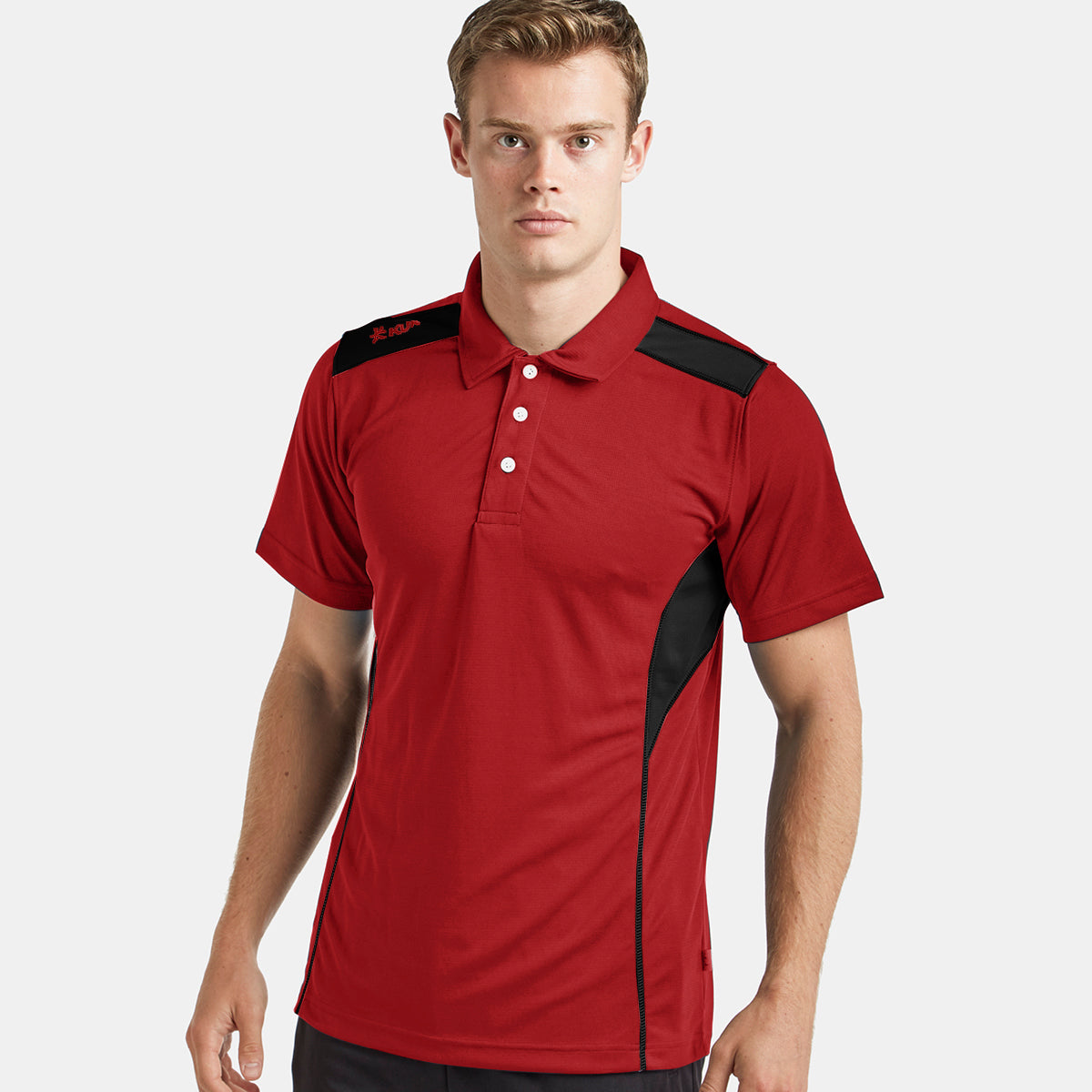 Kukri Half Sleeve Polo Shirt For Men-Red & Black-BE8130