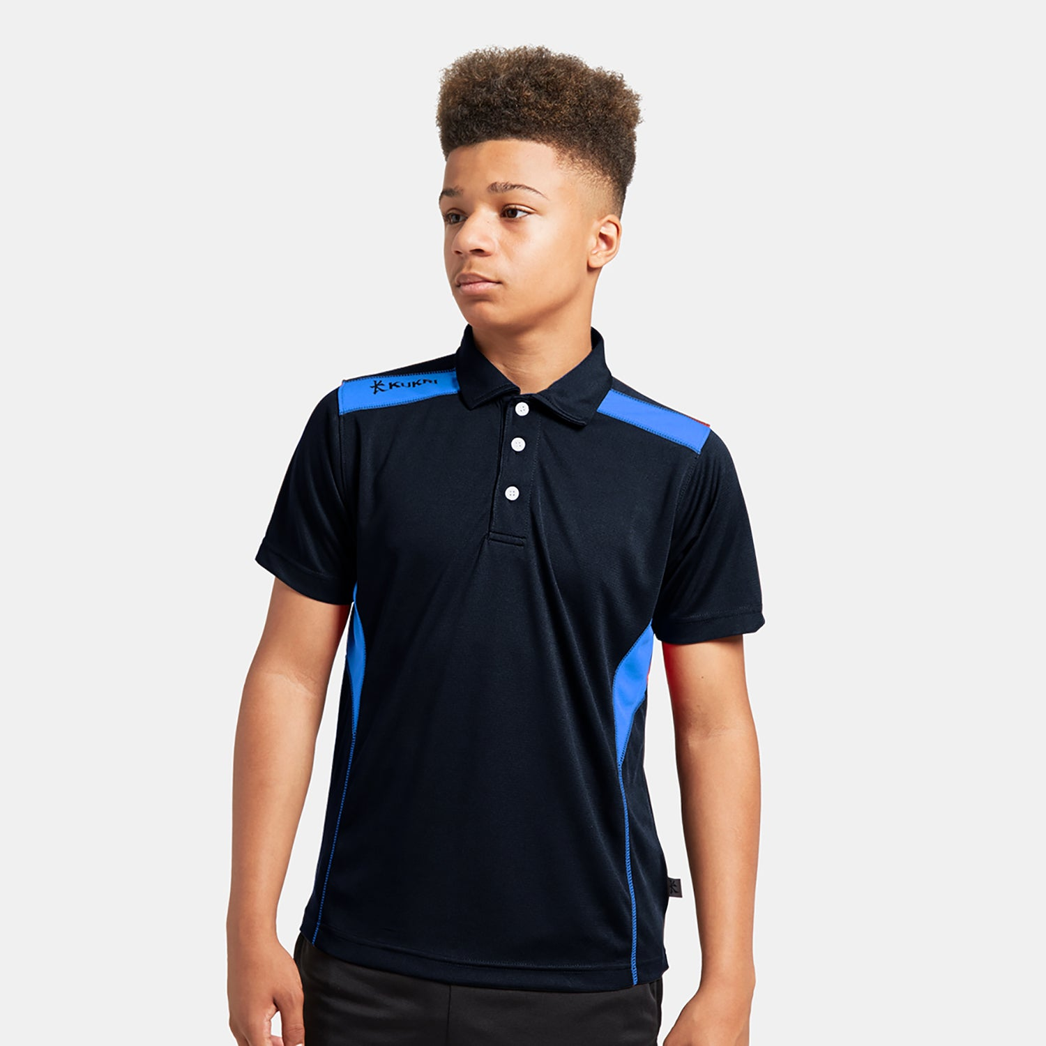 Kukri Half Sleeve Polo Shirt For Boys-Dark Navy & Sky-BE8128