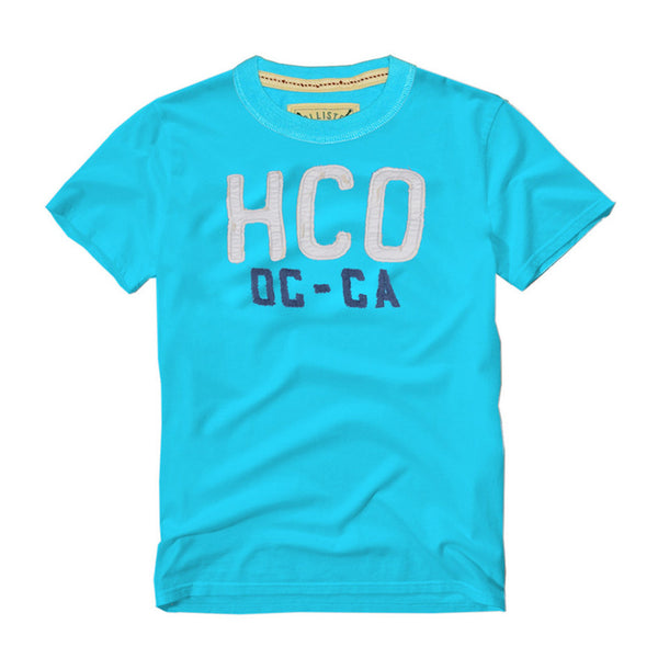 "Men's ""Hollister"" Short Sleeves Fashion Crew Neck With Aplic -Sky Blue (2) (HS217)"