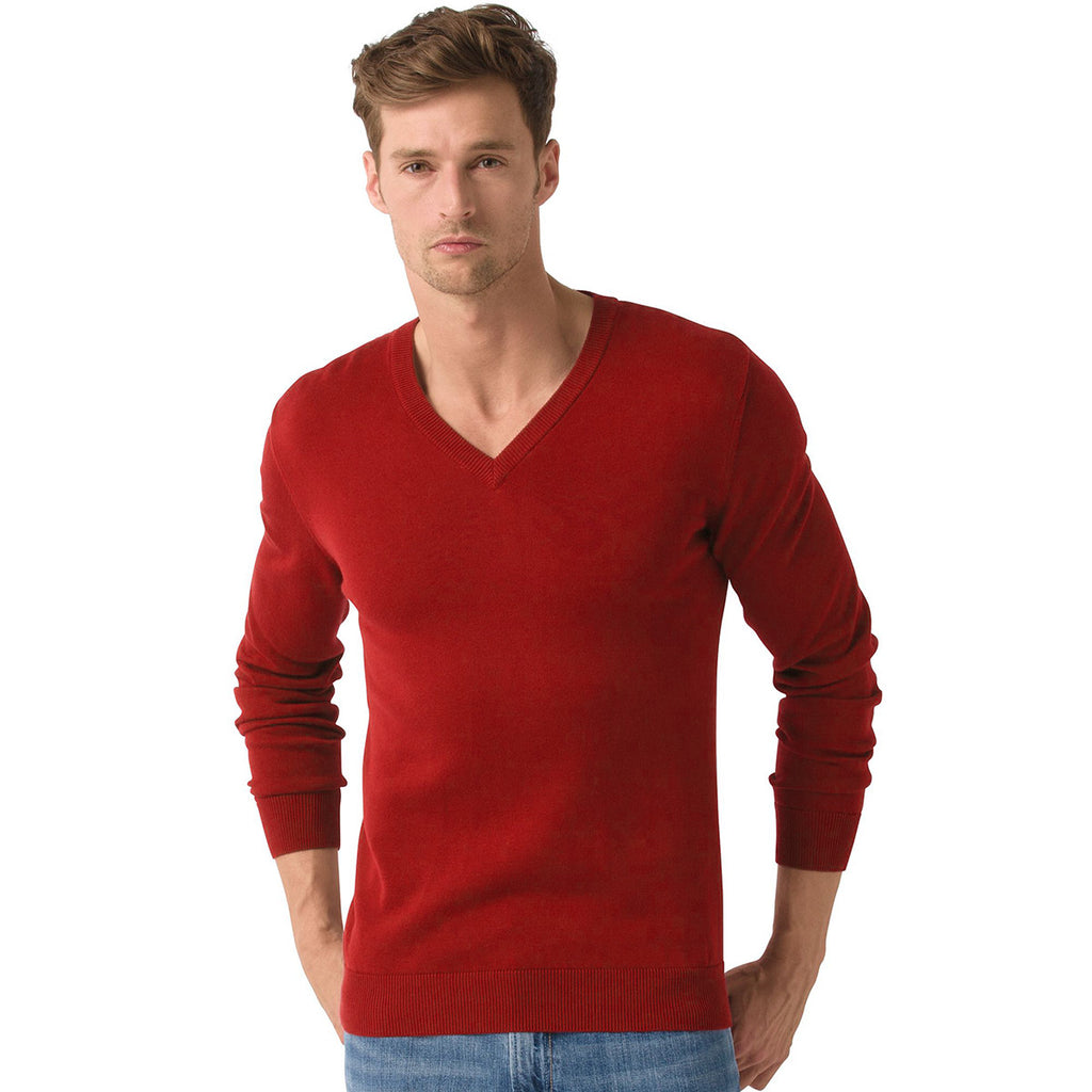 "Men's Cut Label ""Jack & Danny's"" Full Sleeve V Neck Sweat Shirt -Red-JDSS08"