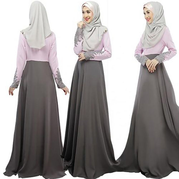 Ladies Abaya Koran Muslim Hijab Burqa Lace Dress Robe Islamic Maxi Dresses-Grey & Light Pink-AN848