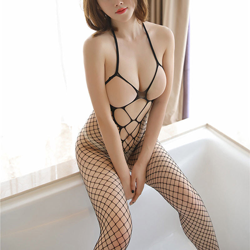 Ladies Fishnet Crotchless Full Body stocking Sexy Erotic Lingerie Sleepwear-Black-AN820