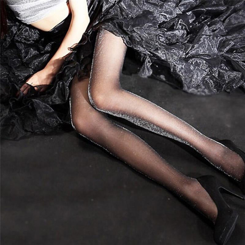 Ladies Glossy Tights Shimmer Silver Glitter Stockings Shiny Pantyhose-AN823