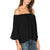 Ladies Off The Shoulder Tops Short Sleeves Shirts Casual Chiffon Blouses-Black-AN994