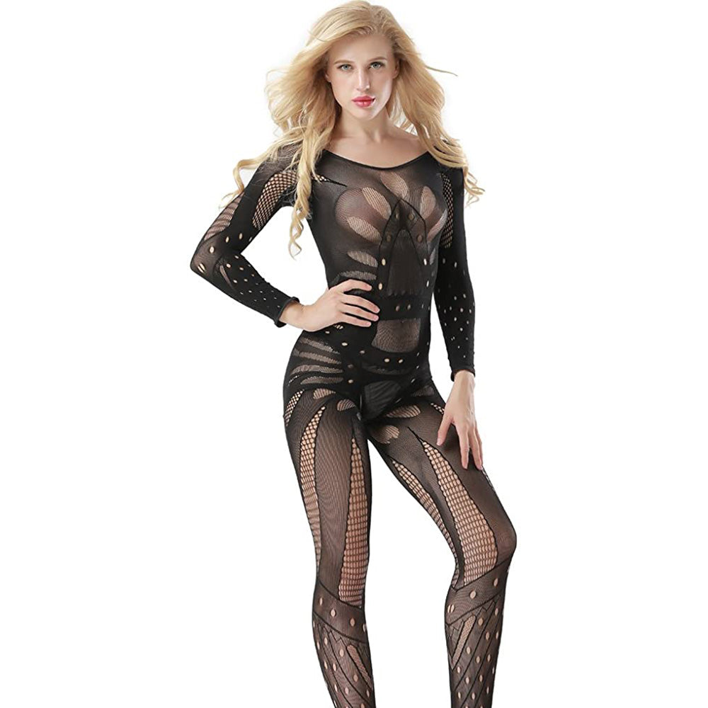 Ladies Sexy Butterfly Fishnet Long Sleeve Bodysuit Open Crotch Bodystocking Black-AN834