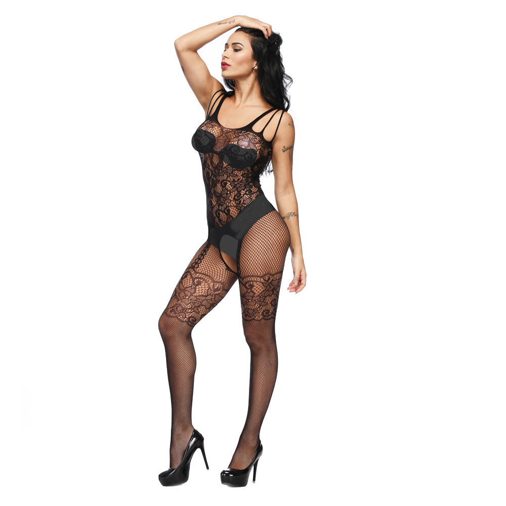 Ladies Sexy Fishnet Bodysuit Socks Women Jacquard Body Stockings Mesh Hollow High Elasticity Lingerie Costumes Net Stocking-AN792