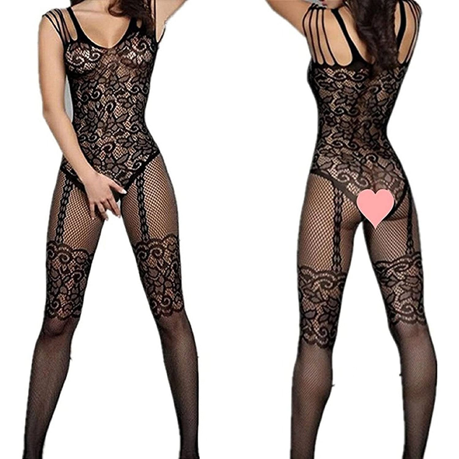 Ladies Sexy Fishnet Bodysuit Socks Women Jacquard Body Stockings Mesh Hollow High Elasticity Lingerie Costumes Net Stocking-AN828