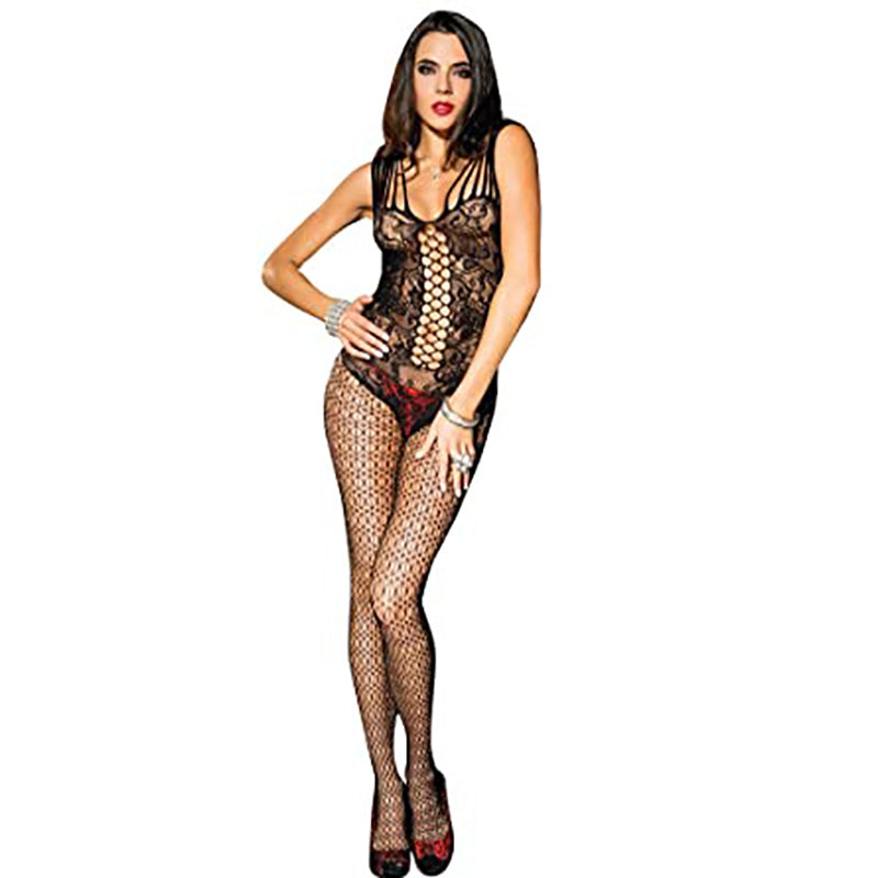 Ladies Sexy Fishnet Bodysuit Socks Women Jacquard Body Stockings Mesh Hollow High Elasticity Lingerie Costumes Net Stocking-AN952