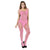 Ladies Sexy Fishnet Bodysuit Socks Women Jacquard Body Stockings Mesh Hollow High Elasticity Lingerie Costumes Net Stocking-Pink-AN817