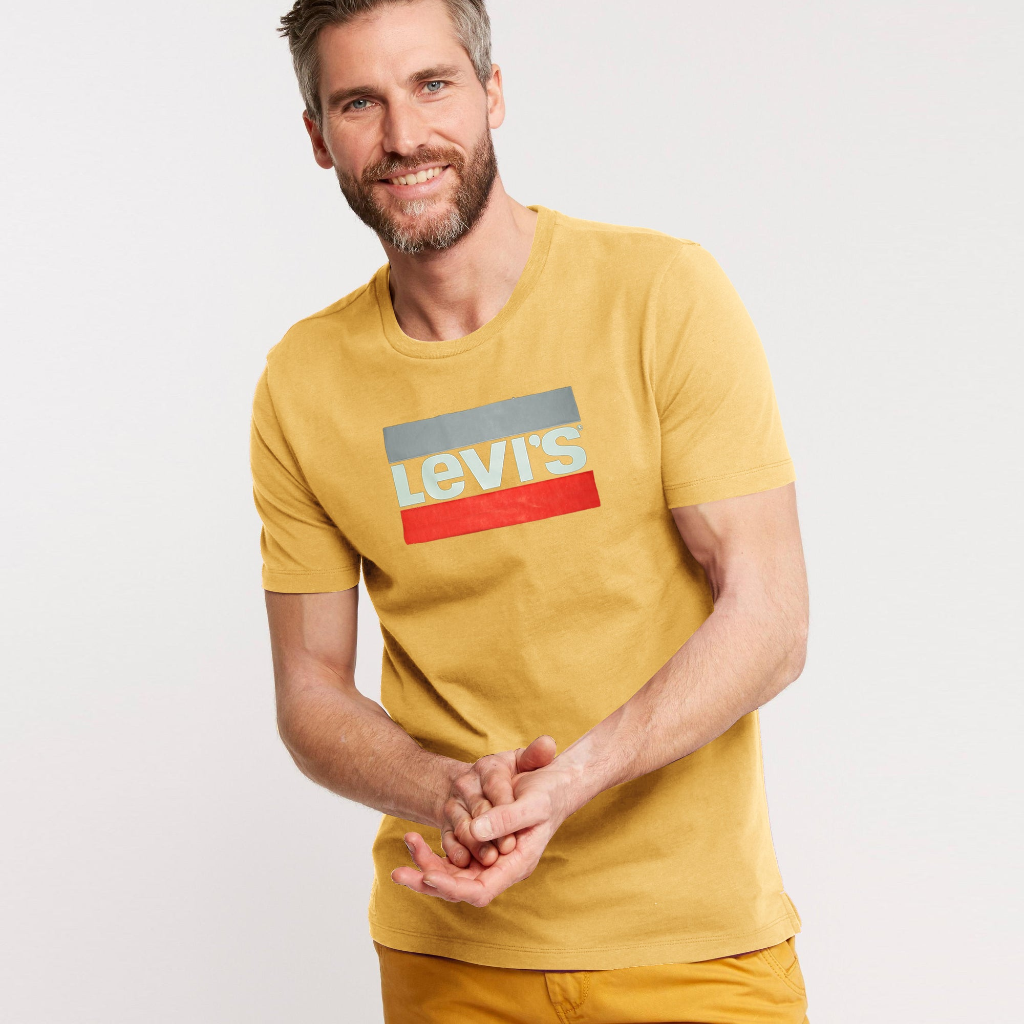 Levis Crew Neck Single Jersey Tee Shirt For Men-Light Yellow-BE8673
