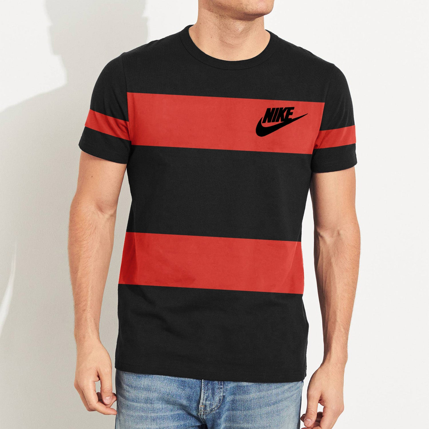 NK Summer Crew Neck Tee Shirt For Men-Black with Red Panel-BE12024