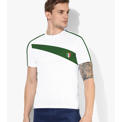 LFR Crew Neck Tee Shirt For Men-White & Green-BE5120