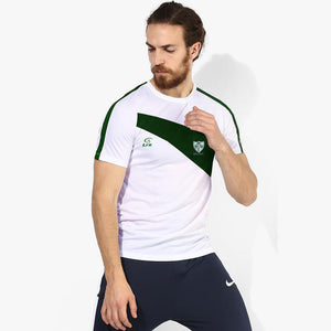LFR Sports Crew Neck T Shirt For Men-White & Dark Green -SA0021