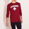 brandsego - Life Guard Single Jersey Long Sleeve Shirt For Men-Dark Red-BE9663