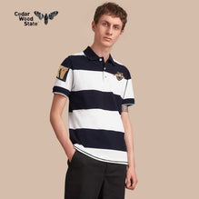 Cedarwood State Polo Shirt For Men Cut Label-Dark Navy & White Striped-BE2480