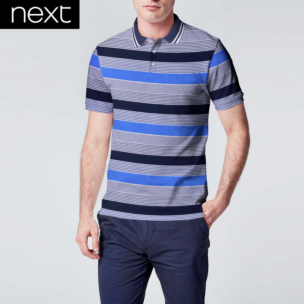 Next Polo Shirt For Men Cut Label-Blue & Multi Striped-BE2477