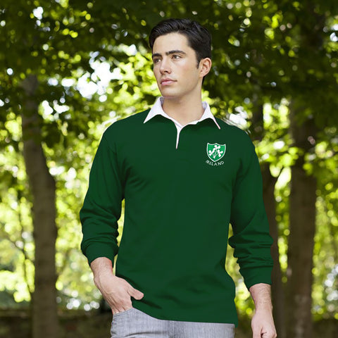Men's Cut Label Rugby Polo Shirt-Dark Green-BE233