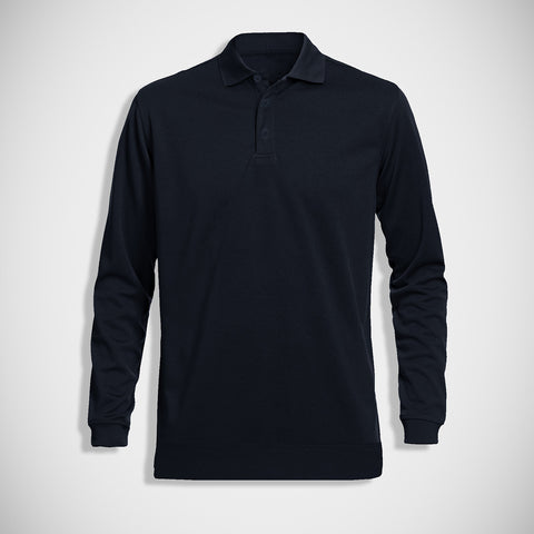 "Men's ""B&C"" Full Sleeve Fashion Fleece Polo-Dark Navy-M0761"