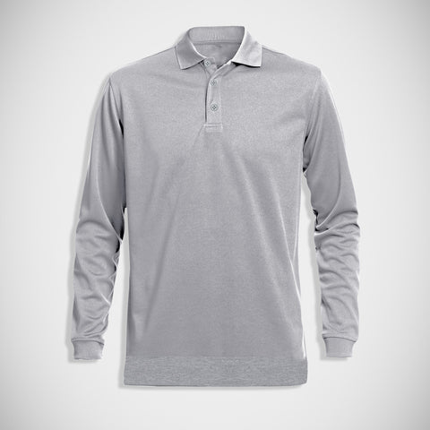 "Men's ""B&C"" Full Sleeve Fashion Fleece Polo-Gray-M0760"