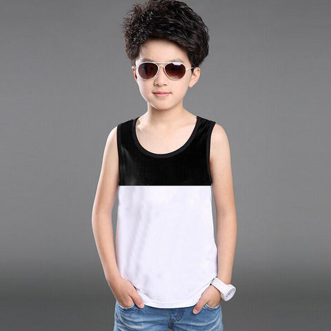 Next Sleeve Less T Shirt For Kid Cut Label -White & Black-BE2285