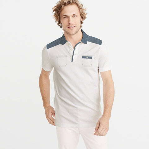 M&S Single Jersey Polo Shirt For Men-Off White-BE5130