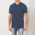 M&S Single Jersey V Neck Tee Shirt For Men-Navy Melange-BE5668