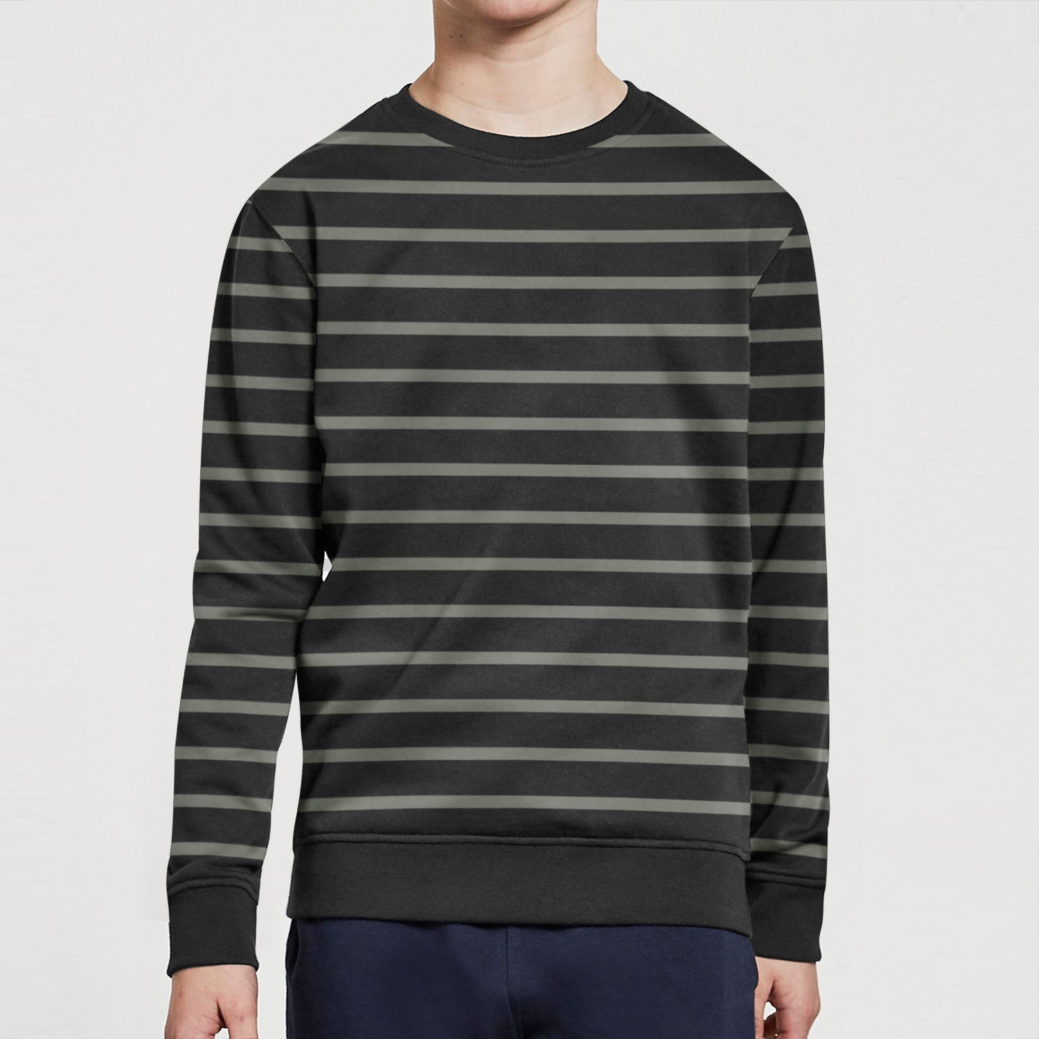 Mango Terry Fleece Sweatshirt For Kids-Black with Stripe-BE12798