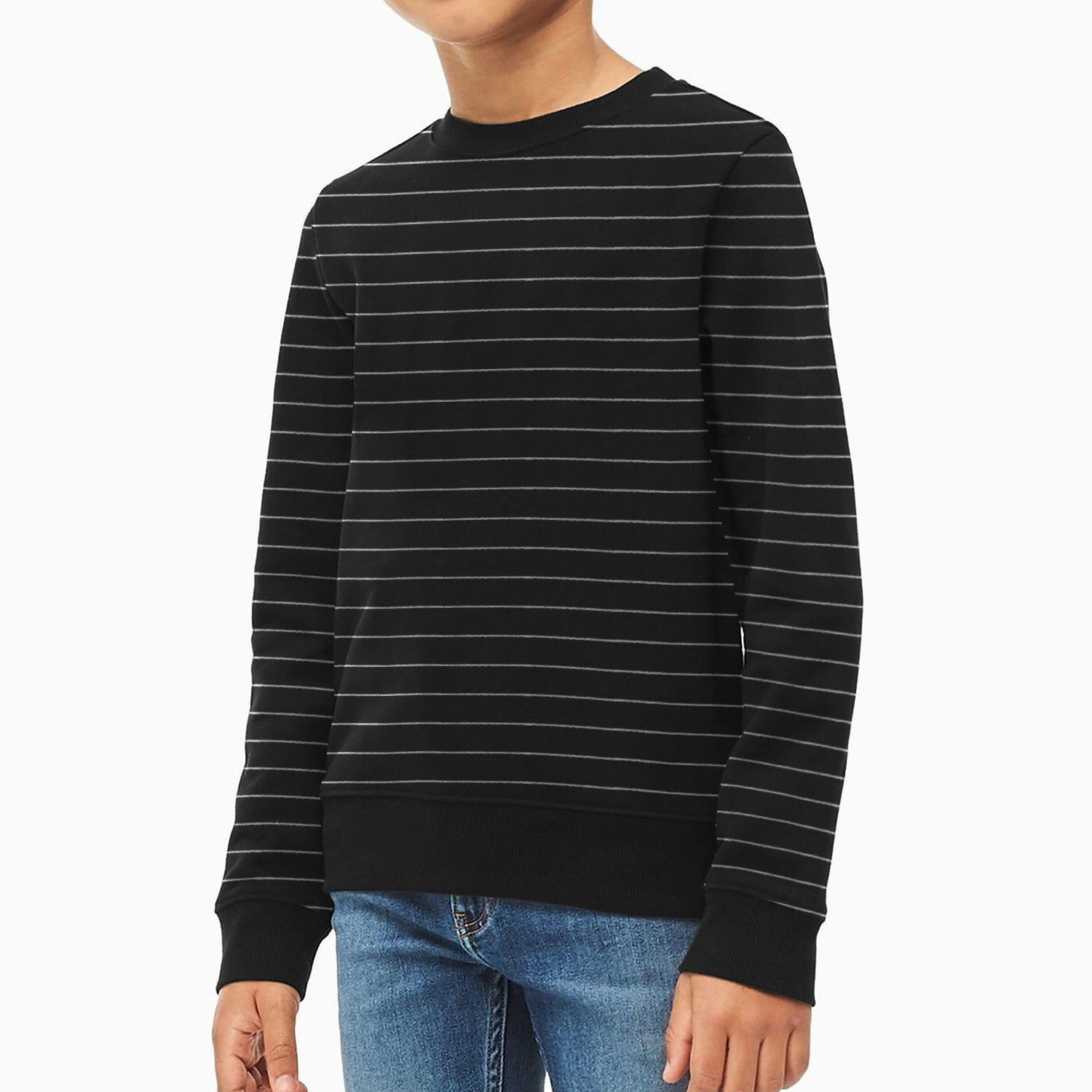 Mango Terry Fleece Sweatshirt For Kids-Black with White Lining-BE12806