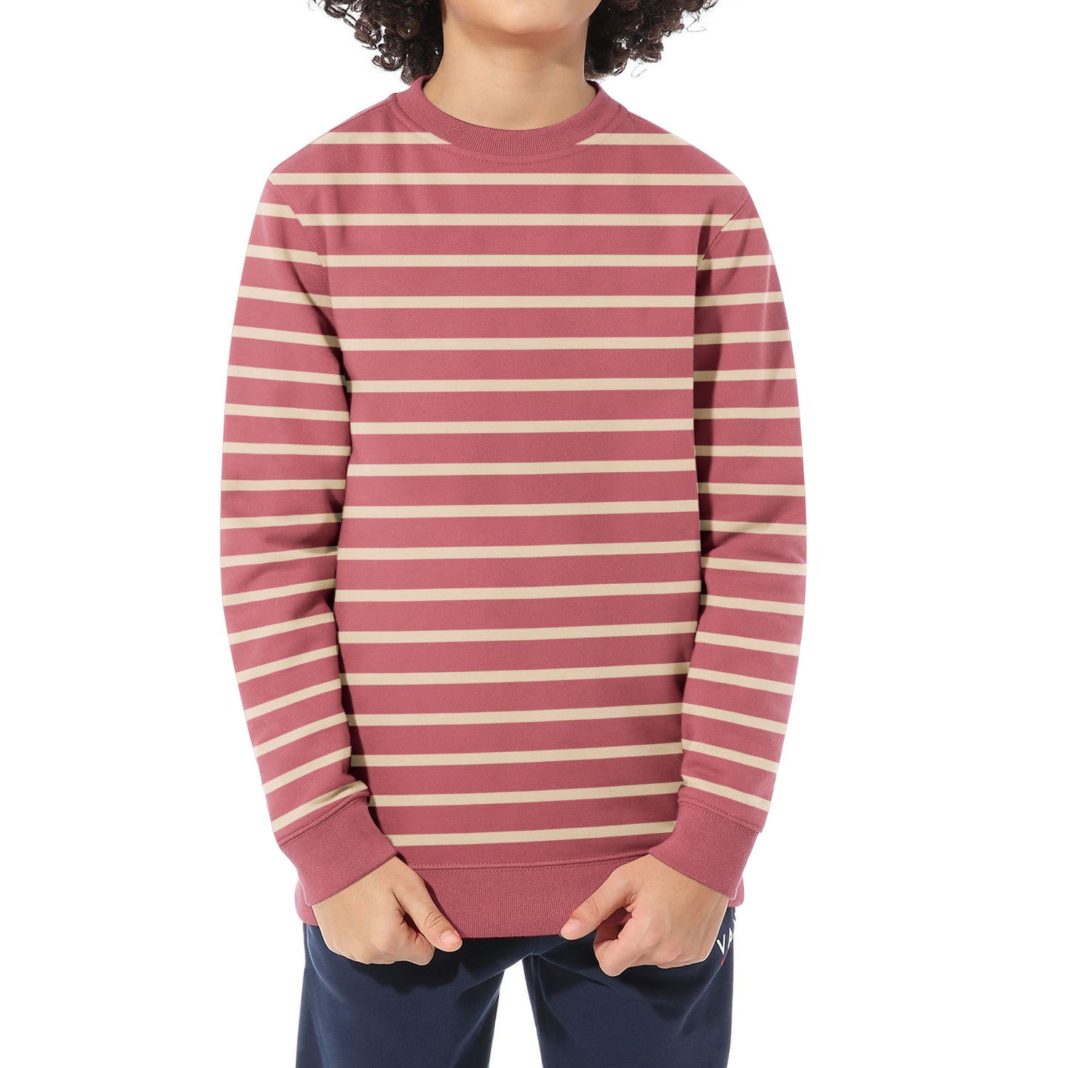 Mango Terry Fleece Sweatshirt For Kids-Dark Pink with Off White Stripe-BE12796