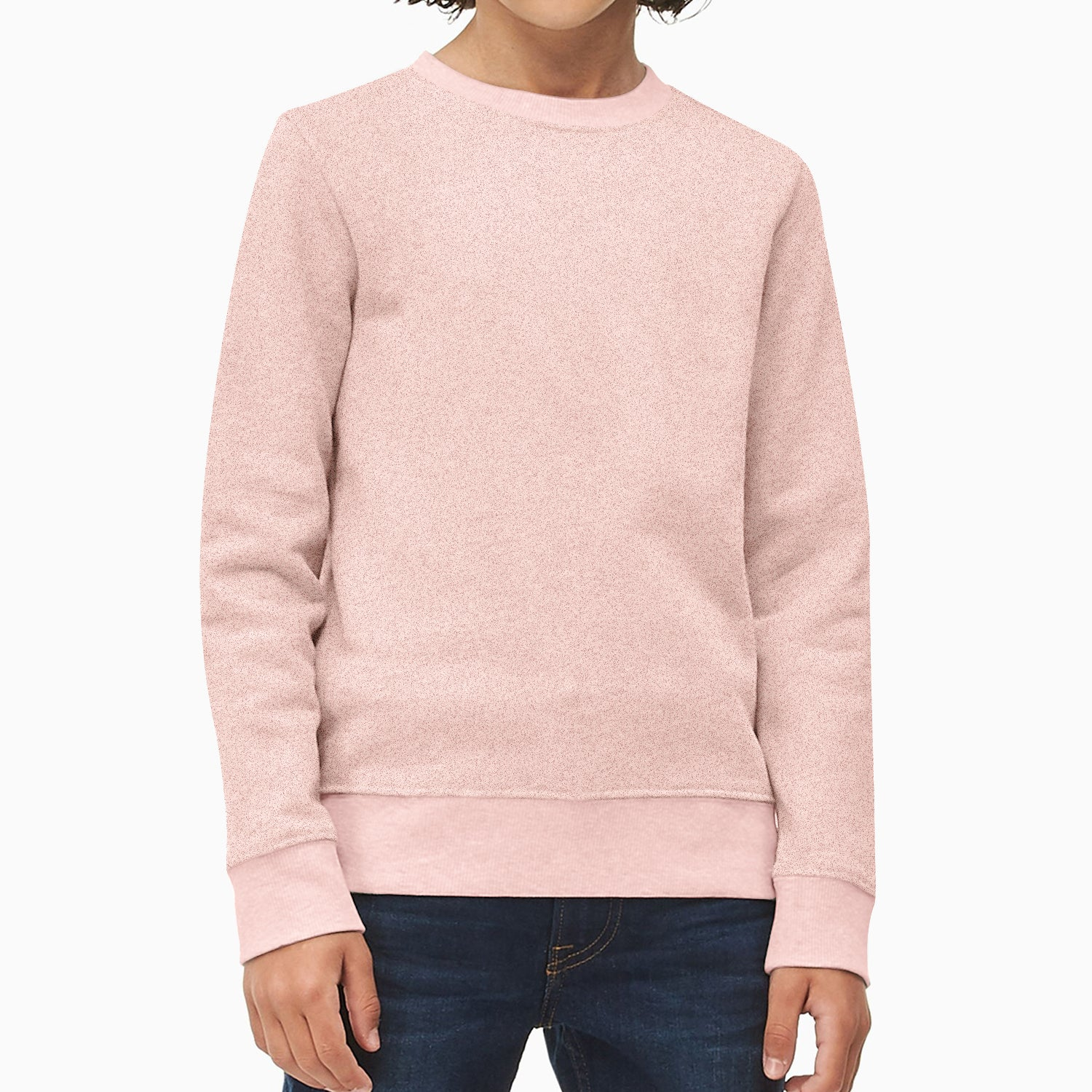Mango Terry Fleece Sweatshirt For Kids-Light Pink Melange-BE12797