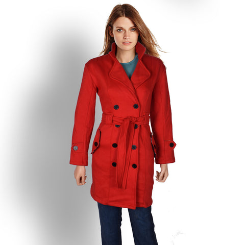 "Ladies ""Jeager"" Fleece Belted Trench Coat-Red"