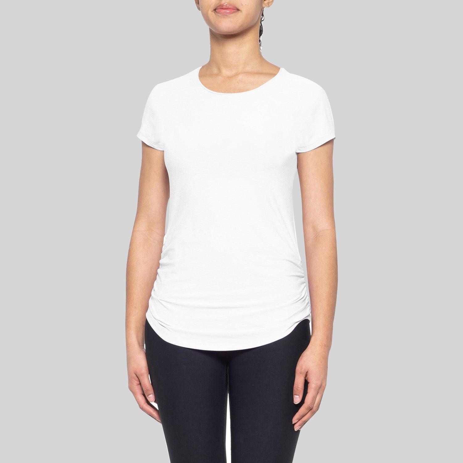 Miss Popular Sport Viscose Crew Neck Ruched Side Tee Shirt For Women-White-BE12177
