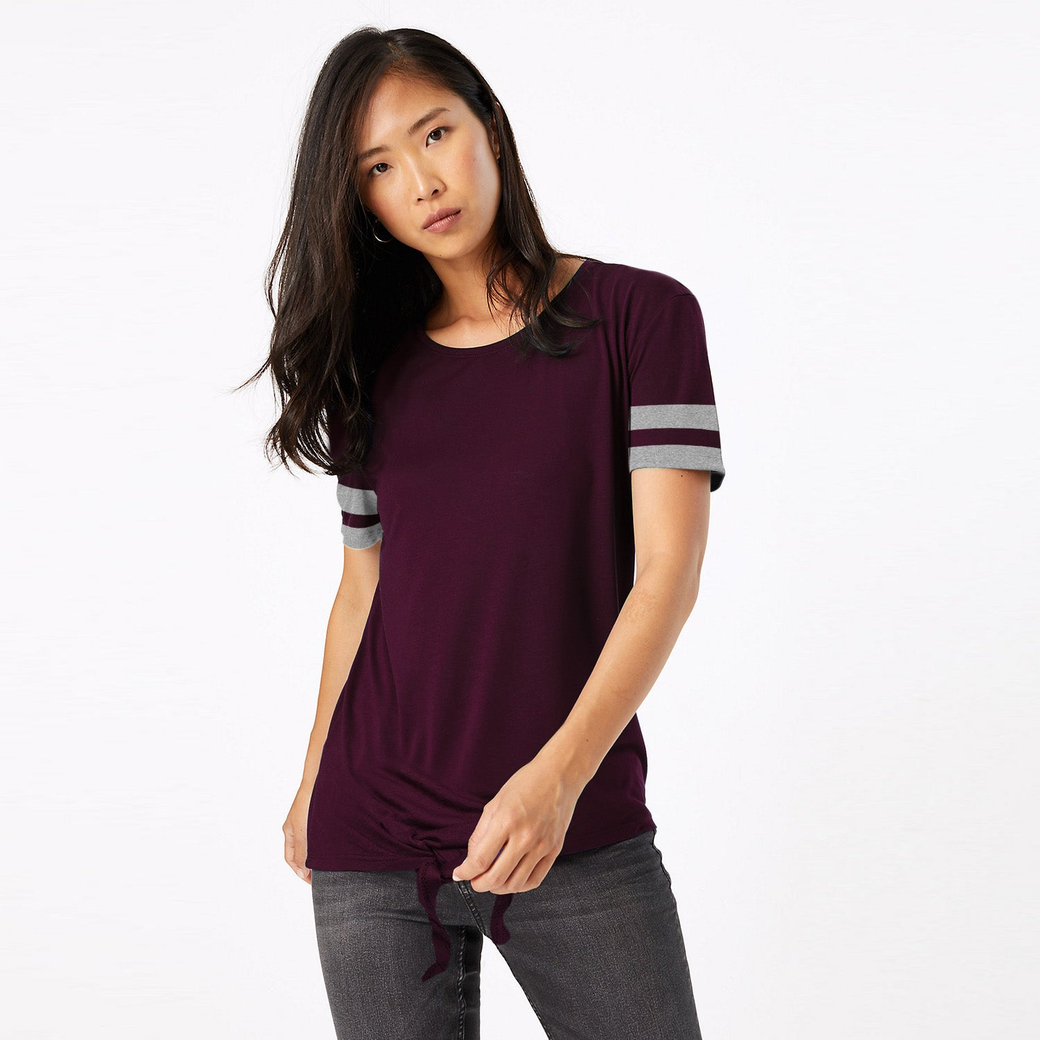 Miss Popular Viscose Crew Neck Crop Tie Tee Shirt For Women-BE9654