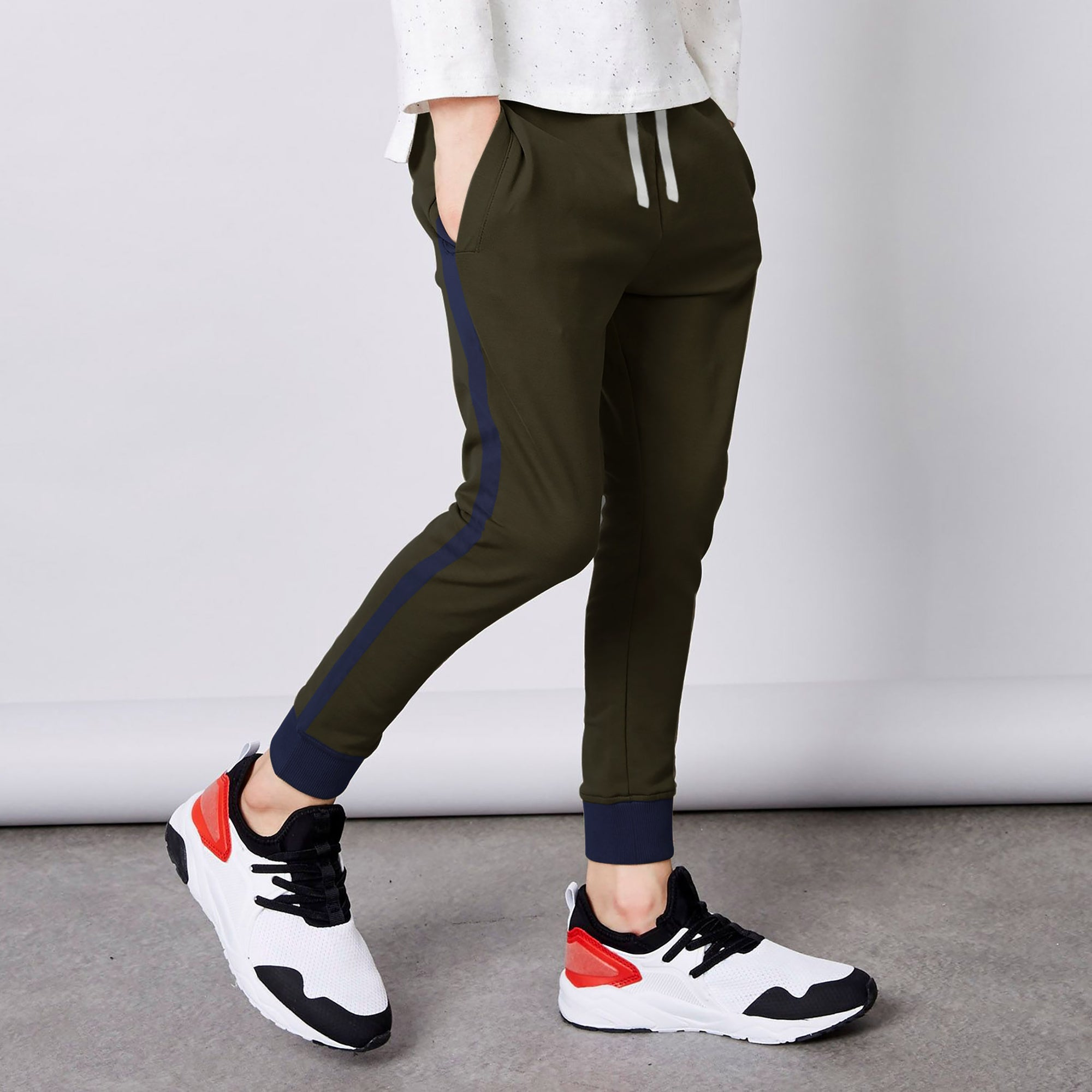 brandsego - New Look Single Jersey Jogger Trouser For Kids-Dark Olive & Navy-BE5224