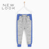 New Look Single Jersey Jogger Trouser For Kids-Gray Melange & Blue Stripes-NA1180