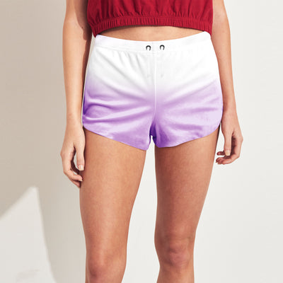 brandsego - New Look Terry Short For Ladies-White With Purple-SP100
