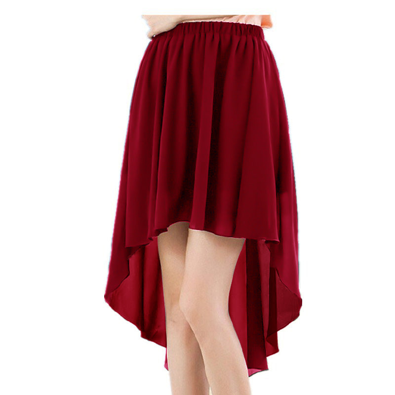 New Stylish Chiffon Skirt For Ladies-Red-AN975