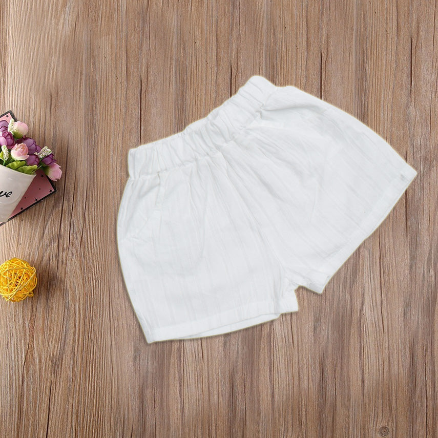 New Stylish Cotton Short For Kids-White-AN1827