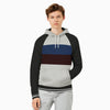 New Stylish Fleece Raglan Sleeve Pullover Hoodie For Men-Off White Melange & Black With Panel-SP1762