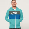 NK Fleece Zipper Hoodie For Men-Cyan with Grey Melange & Blue Panel-SP1773