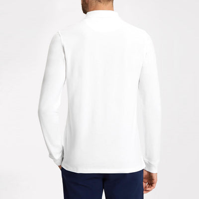 New Stylish P.Q Long Sleeve Polo Shirt For Men-White & Navy-BE11583