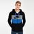 NK Slim Fit Stretchable Zipper Hoodie For Men-Black With Cyan & Grey Panel-BE11012