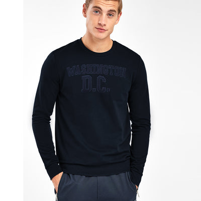 New York Popular Crew Neck Fleece Embroidered Sweatshirt For Men-Dark Navy-BE10413
