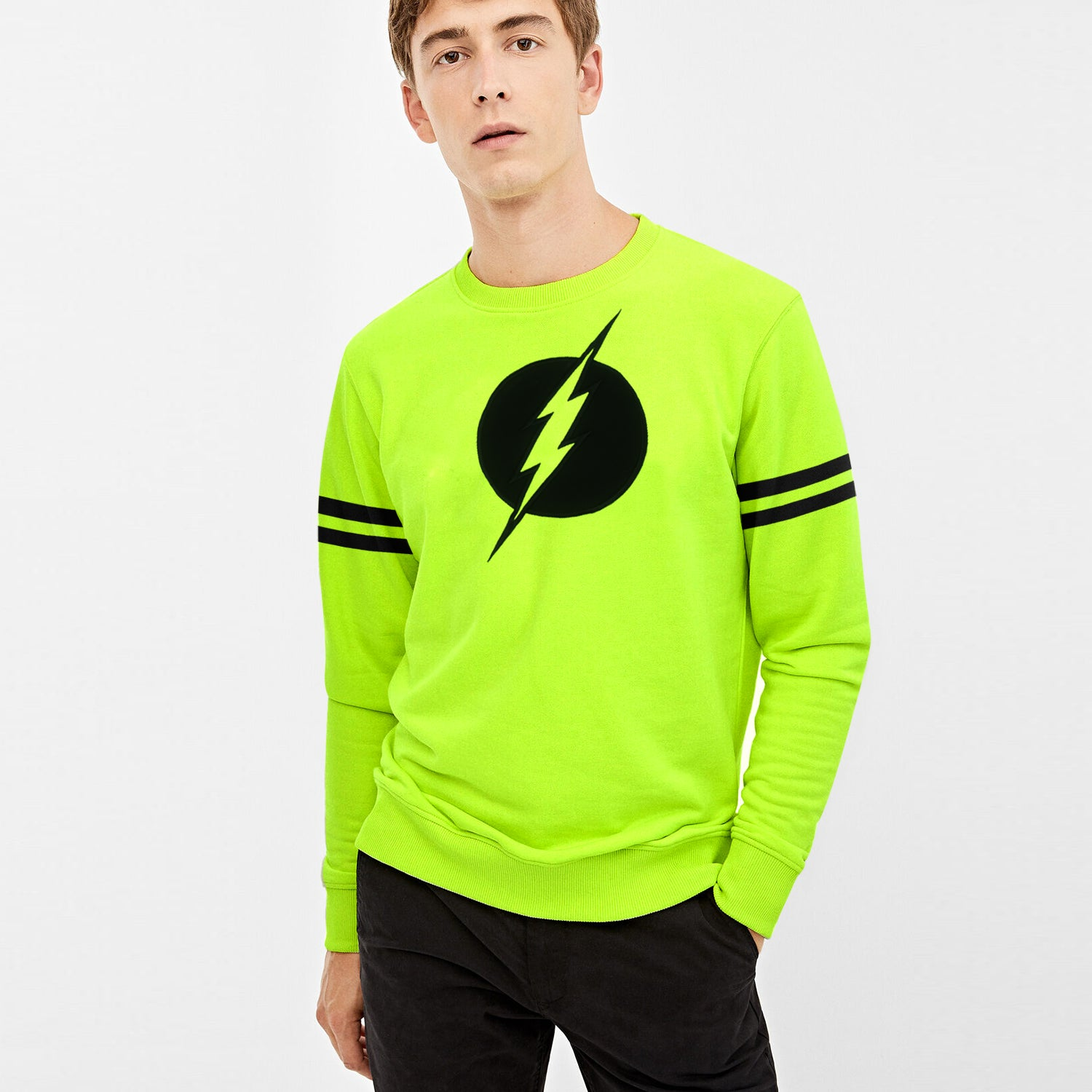 New York Popular Fleece Black Embroider Print Sweatshirt For Men-Lime Green-BE10419