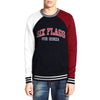 New York Popular Fleece Raglan Sleeve Kangroo Pocket Sweatshirt For Men-Dark Navy with White & Red-BE10418