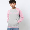New York Popular Fleece Raglan Sleeve Kangroo Pocket Sweatshirt For Men-Grey Melange & Pink-BE10417